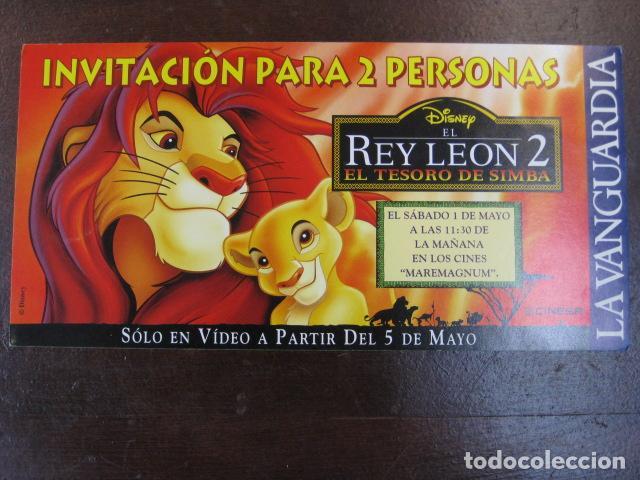 EL REY LEON 2 - FOLLETO MANO INVITACION PREESTRENO - CINESA MAREMAGNUM DISNEY (Cine - Folletos de Mano - Infantil)