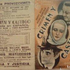 Cine: FOLLETO DE CINE CRIMEN Y CASTIGO CON HARRY BAUR PROGRAMA DOBLE PUBLCIDAD CINEMA PROYECCIONES. Lote 208002263