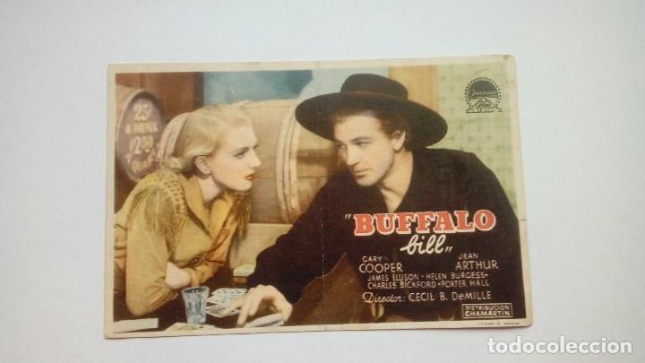 FOLLETO DE CINE BUFFALO BILL CON GARY COOPER PUBLICIDAD CINEMA PROYECCIONES (Cine - Folletos de Mano - Westerns)