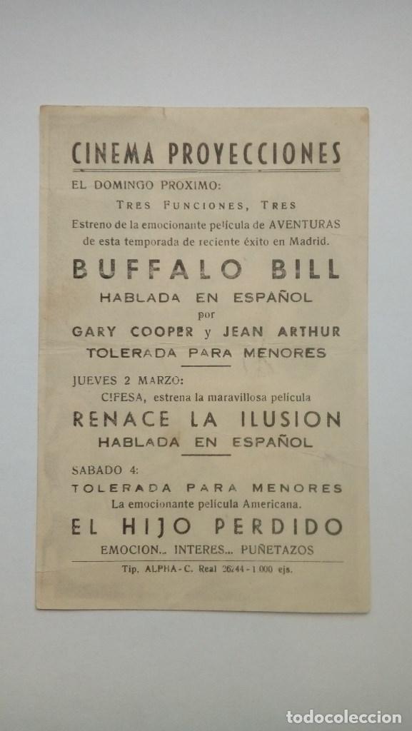 Cine: FOLLETO DE CINE BUFFALO BILL CON GARY COOPER PUBLICIDAD CINEMA PROYECCIONES - Foto 2 - 208004062