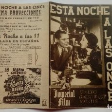 Folhetos de mão de filmes antigos de cinema: FOLLETO DE CINE ESTA NOCHE A LAS ONCE CON JOHN LODGE PROGRAMA DOBLE PUBLICIDAD CINEMA PROYECCIONES. Lote 208004140