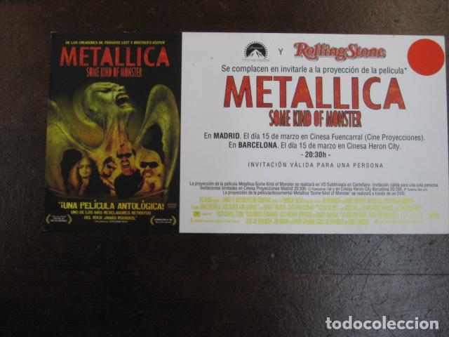METALLICA SOME KIND OF MONSTER - FOLLETO MANO INVITACION PREESTRENO - JAMES HETFIELD (Cine - Folletos de Mano - Documentales)