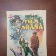 Cine: FOLLETO DE CINE, LA TELA DE ARAÑA, CON PUBLICIDAD AL DORSO. Lote 208113130