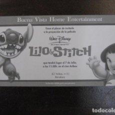 Cine: LIO Y STITCH - FOLLETO MANO ORIGINAL INVITACION PREESTRENO CINE ARIBAU - WALT DISNEY. Lote 208129487