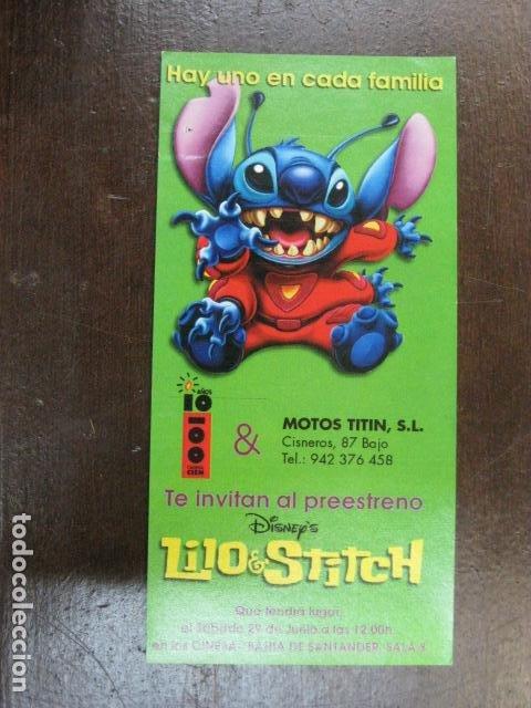 LIO Y STITCH - FOLLETO MANO ORIGINAL INVITACION PREESTRENO - WALT DISNEY PUBLICIDAD MOTOS TITIN (Cine - Folletos de Mano - Infantil)