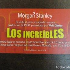 Cine: LOS INCREIBLES - FOLLETO MANO ORIGINAL INVITACION PREESTRENO PIXAR WALT DISNEY MORGAN STANLEY. Lote 208133323