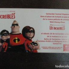 Cine: LOS INCREIBLES - FOLLETO MANO ORIGINAL INVITACION PREESTRENO PIXAR WALT DISNEY MORGAN STANLEY. Lote 208133398