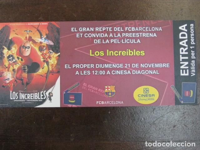 LOS INCREIBLES - FOLLETO MANO ORIGINAL INVITACION PREESTRENO PIXAR WALT DISNEY FUTBOL CLUB BARCELONA (Cine - Folletos de Mano - Infantil)