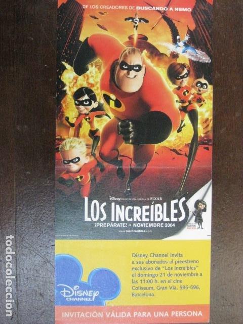 LOS INCREIBLES - FOLLETO MANO ORIGINAL INVITACION PREESTRENO COLISEUM PIXAR WALT DISNEY (Cine - Folletos de Mano - Infantil)