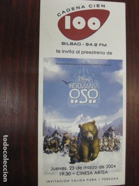 HERMANO OSO - FOLLETO MANO ORIGINAL INVITACION PREESTRENO - WALT DISNEY BROTHER BEAR (Cine - Folletos de Mano - Infantil)