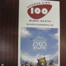 Cine: HERMANO OSO - FOLLETO MANO ORIGINAL INVITACION PREESTRENO - WALT DISNEY BROTHER BEAR. Lote 208134915
