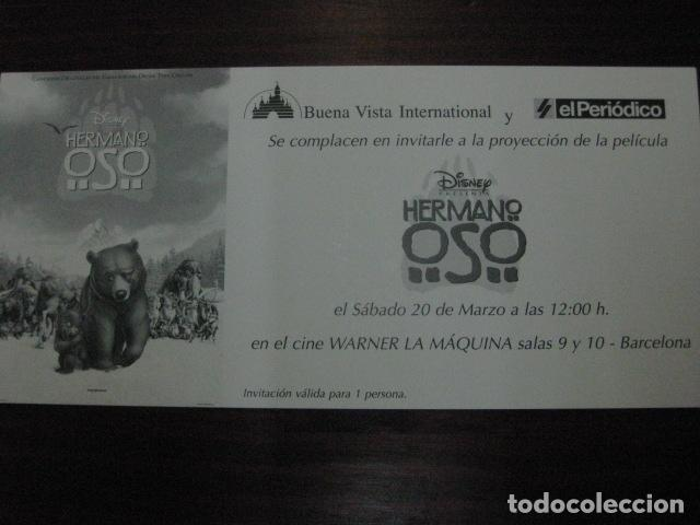 HERMANO OSO - FOLLETO MANO ORIGINAL INVITACION PREESTRENO - WALT DISNEY BROTHER BEAR (Cine - Folletos de Mano - Infantil)