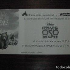 Cine: HERMANO OSO - FOLLETO MANO ORIGINAL INVITACION PREESTRENO - WALT DISNEY BROTHER BEAR. Lote 208134945