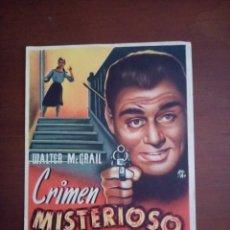Cine: FOLLETO DE CINE, CRIMEN MISTERIOSO, SIN PUBLICIDAD AL DORSO. Lote 208136368
