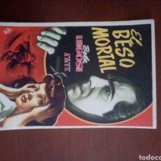 Cine: FOLLETO DE CINE, EL BESO MORTAL, CON PUBLICIDAD AL DORSO. Lote 208139143