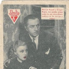 Cine: PN - PROGRAMA DE CINE - ESTRELLA DE MEDIANOCHE - WILLIAM POWELL, GINGER ROGERS - CINE IDEAL ALICANTE. Lote 208217092