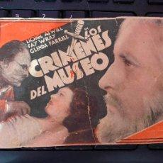 Cine: FOLLETO DE MANO CARTULINA LOS CRIMENES DEL MUSEO -1934. Lote 208369696