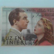 Cine: LUZ EN LAS TINIEBLAS ALIDA VALLI SENCILLO CON PUBLICIDAD TEATRO PRINCIPAL Y GRAN CINEMA. Lote 208302437