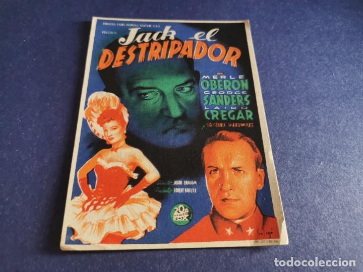 PROGRAMA DE MANO ORIG - JACK EL DESTRIPADOR - CINE COLISEO OLYMPIA (Cine - Folletos de Mano - Suspense)