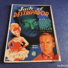 Cine: PROGRAMA DE MANO ORIG - JACK EL DESTRIPADOR - CINE COLISEO OLYMPIA. Lote 208414366