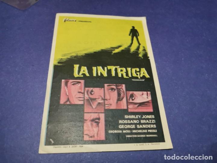 PROGRAMA DE MANO ORIG - LA INTRIGA - CINE DE YECLA (Cine - Folletos de Mano - Suspense)