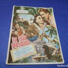 Cine: PROGRAMA DE MANO ORIG - LA ISLA PERDIDA - CINE DE LIRIA. Lote 208417140