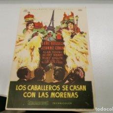 Cine: PROGRAMA DE MANO ORIG - LOS CABALLEROS SE CASAN CON LAS MORENAS - CINE DE ALBACETE. Lote 208666440