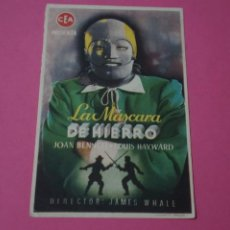 Foglietti di film di film antichi di cinema: FOLLETO DE MANO PROGRAMA DE CINE DE LA MASCARA DE HIERRO CON PUBLICIDAD LOTE 44 MIRAR FOTOS. Lote 208679347
