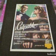 Cine: PROGRAMA DE MANO ORIG - CULPABLE - CINE MONUMENTAL CINEMA. Lote 208951687