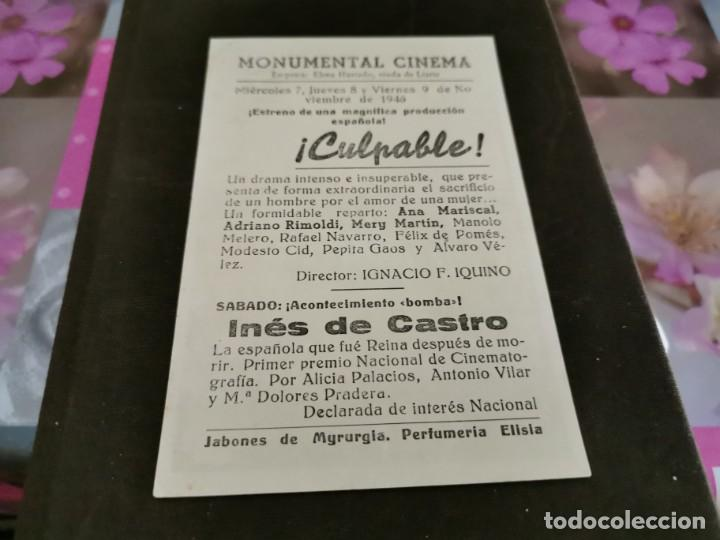 Cine: PROGRAMA DE MANO ORIG - CULPABLE - CINE MONUMENTAL CINEMA - Foto 2 - 208951687