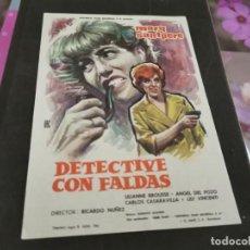 Cine: PROGRAMA DE MANO ORIG - DETECTIVE CON FALDAS- CINE DE ZARAGOZA. Lote 208951791