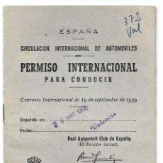 Cine: PERMISO INTERNACIONAL PARA CONDUCIR AÑO 1966 - EXPEDIDO EN VALENCIA. Lote 209059857