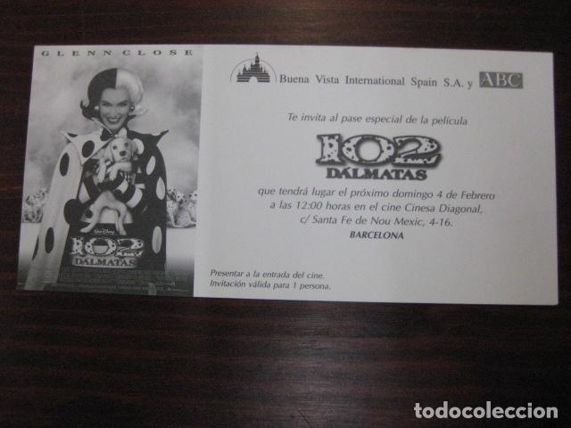 102 DALMATAS - FOLLETO DE MANO INVITACION PREESTRENO WALT DISNEY GLENN CLOSE (Cine - Folletos de Mano - Infantil)