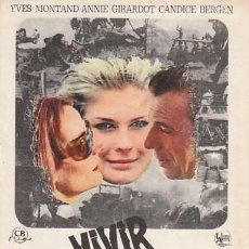 Folhetos de mão de filmes antigos de cinema: VIVIR PARA VIVIR DE CLAUDE LELOUCH CON YVES MONTAND, ANNIE GIRADOT Y CANDICE BERGEN. Lote 209119370