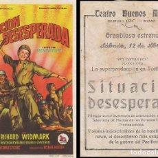 Cine: SITUACION DESESPERADA CON RICHARD WIDMARK, DETRÁS CINE TEATRO BUENOS AIRES DE BILBAO (MUESTRO JUNTO. Lote 209127020