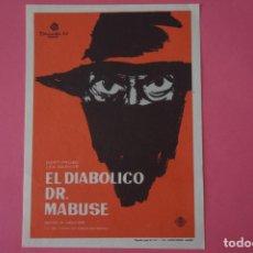 Foglietti di film di film antichi di cinema: FOLLETO DE MANO PROGRAMA DE CINE EL DIABOLICO DR. MABUSE SIN PUBLICIDAD LOTE 59. Lote 209249470