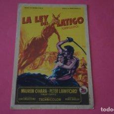Foglietti di film di film antichi di cinema: FOLLETO DE MANO PROGRAMA DE CINE LA LEY DEL LATIGO CON PUBLICIDAD LOTE 62 MIRAR FOTOS. Lote 209326948