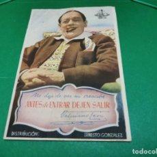 Cine: PROGRAMA DE MANO ORIG - ANTES DE ENTRAR DEJEN SALIR - CINE DE SUECA. Lote 209368121