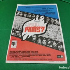 Cine: PROGRAMA DE MANO ORIG - ARDE PARIS - CINES BOHEMIO Y GALILEO. Lote 209369012