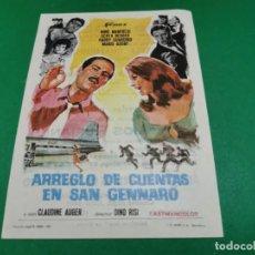 Cine: PROGRAMA DE MANO ORIG - ARREGLO DE CUENTAS EN SAN GENNARO - CINE DE HUESCA. Lote 209370170