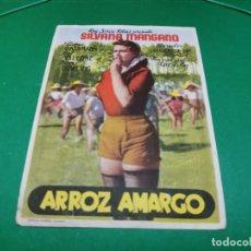 Cine: PROGRAMA DE MANO ORIG - ARROZ AMARGO - CINE DE CARCAGENTE. Lote 209370456