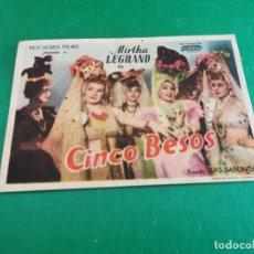Cine: PROGRAMA DE MANO ORIG - CINCO BESOS - CINE ORIENTAL Y SALÓN RIALTO. Lote 209601817