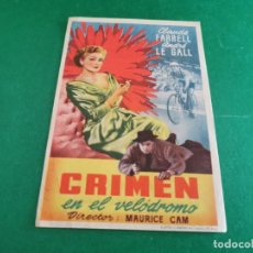 Cine: PROGRAMA DE MANO ORIG - CRIMEN EN EL VELODROMO - CINE GRAN TEATRO. Lote 209604727