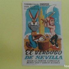 Cine: EL VERDUGO DE SEVILLA SENCILLO FERNANDO SOLER SARA GARCIA. Lote 209694203