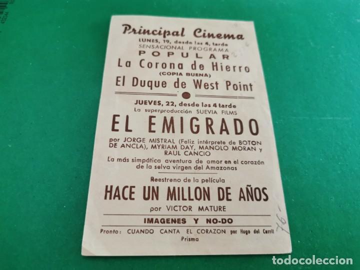 Cine: PROGRAMA DE MANO ORIG - EL EMIGRADO - CINEMA PRINCIPAL CINEMA - Foto 2 - 209699865