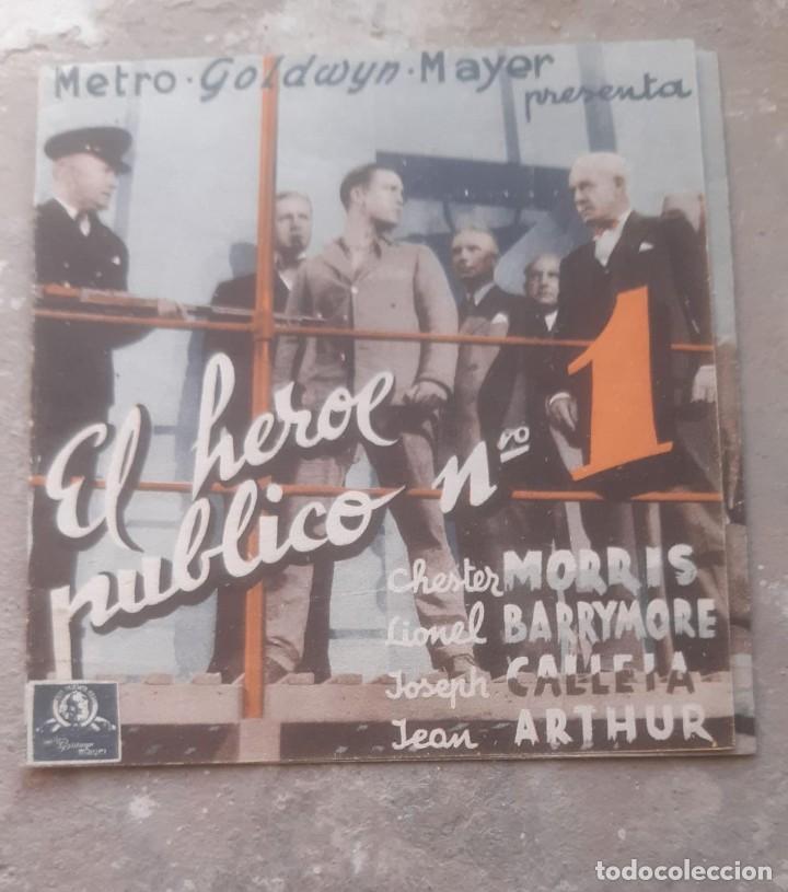 FOLLETO DE CINE ANTIGUO EL HEROE PUBLICO Nº 1 CON CHESTER MORRIS PUBLICIDAD CINEMA PROYECCIONES 1936 (Cine - Folletos de Mano - Acción)