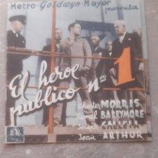 Cine: FOLLETO DE CINE ANTIGUO EL HEROE PUBLICO Nº 1 CON CHESTER MORRIS PUBLICIDAD CINEMA PROYECCIONES 1936. Lote 209762663