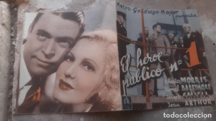 Cine: FOLLETO DE CINE ANTIGUO EL HEROE PUBLICO Nº 1 CON CHESTER MORRIS PUBLICIDAD CINEMA PROYECCIONES 1936 - Foto 2 - 209762663
