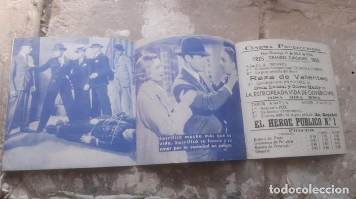 Cine: FOLLETO DE CINE ANTIGUO EL HEROE PUBLICO Nº 1 CON CHESTER MORRIS PUBLICIDAD CINEMA PROYECCIONES 1936 - Foto 3 - 209762663