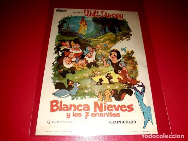 BLANCANIEVES Y LOS 7 ENANITOS DE WALT DISNEY PUBLICIDAD AL DORSO. AÑO 1937 (Cine - Folletos de Mano - Infantil)